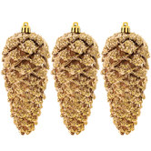 Copper Flocked Pinecone Ornaments